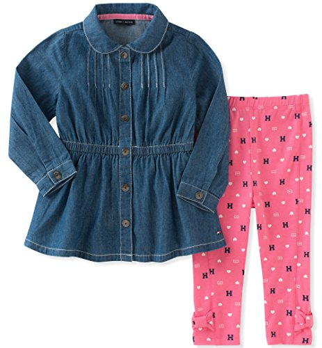 Tommy Hilfiger Baby Girls' Tunic Legging Set, Chambray/Pink Swizzle, 18M