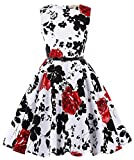 Kate Kasin Casual Girls Floral Sleeveless Swing Dresses with Belt 8-9yrs KK250-2