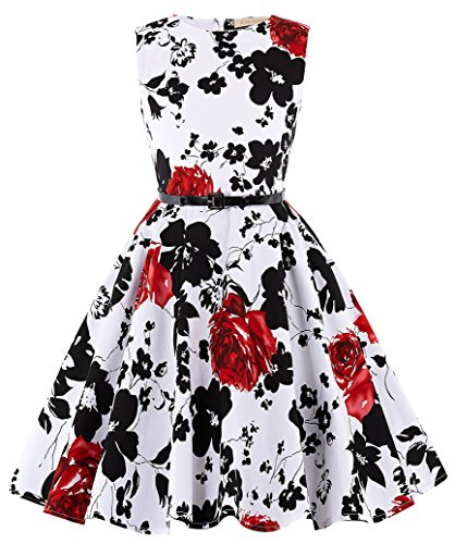 Circle Full Pattern (Kate Kasin Girls Sleeveless Vintage Print Swing Party Dresses 6-15 Years (15-16 Years, K250-2))