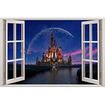 Disney Castle 3D Window Decal Wall Sticker Home Decor Art Mural Kids J166,  Regular Part 57