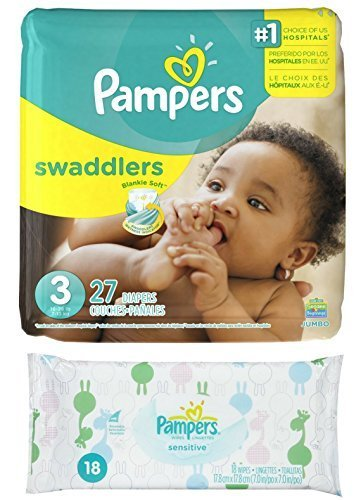 Diaper / Baby Wipe Travel Pack | Includes Pampers Swaddlers Size 3 (27 count) and Sensitive Wipes Resealable Container (18 (Swaddlers Jumbo Pack)