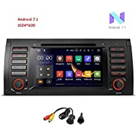 MCWAUTO Android 7.1 Car Stereo For BMW E39 E53 M5 X5 Car Radio Audio 7 Quad Core GPS DVD Player Multi-Touch Screen Radio CD DVD Player GPS 1080P Video Screen Mirroring OBD2 Wifi Rear View Camera