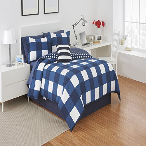 Izod Buffalo Plaid Navy/White Queen Comforter set