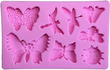 UPKOCH 2 Unids Moldes de Pastel de Silicona Antiadherente Insecto Mariposa Lib/élula Moldes Hechos A Mano Dulces de Chocolate Moldes DIY Hornear Herramientas