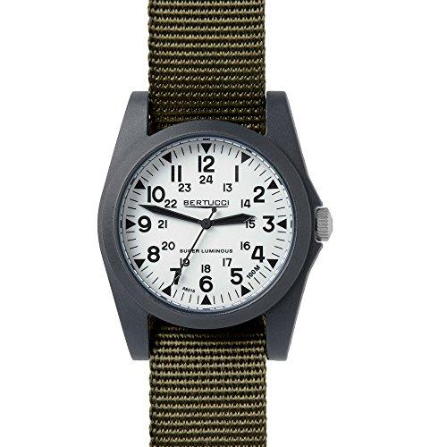 (Bertucci A-3P Sportsman Vintage Field White / Black / Green Nylon Analog Quartz Men's Watch 13356)