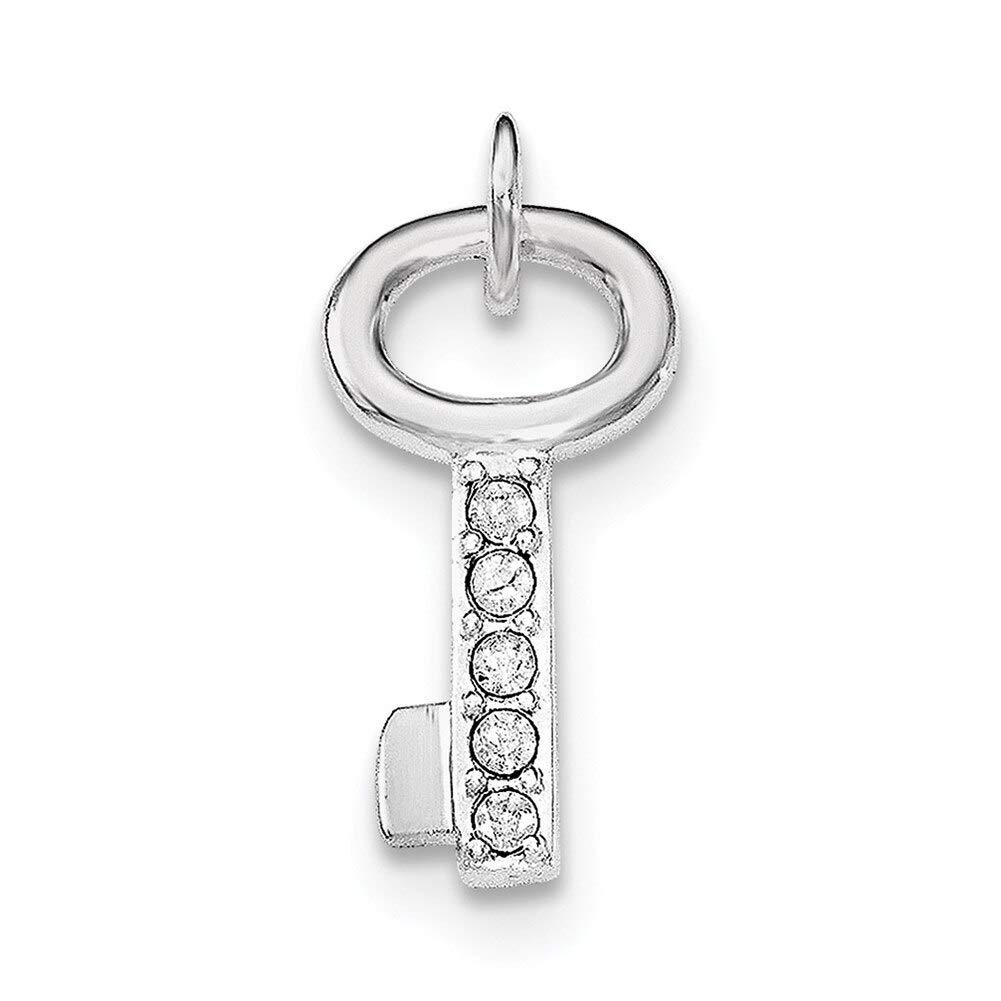 Lex /& Lu Sterling Silver w//Rhodium Key w//Crystal Pendant-Prime