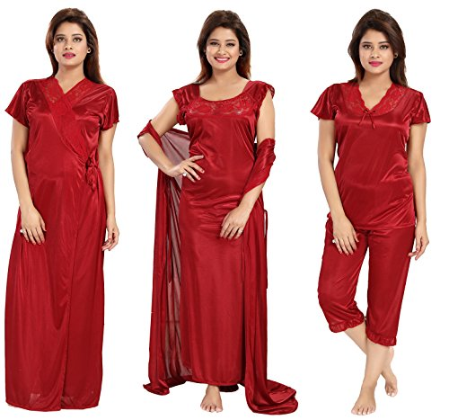 38a30fbd24 Claura Women s Satin Pack of 6pc Night Dress  1 NIGHTY+1 ROBE+1TOP+1 ...