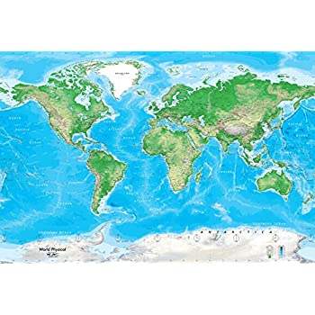 Academia Maps World Map Wall Mural Detailed Satellite Image Blue