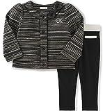 Calvin Klein Baby 2 Piece Jacket Pant Set, Black, 18 Months