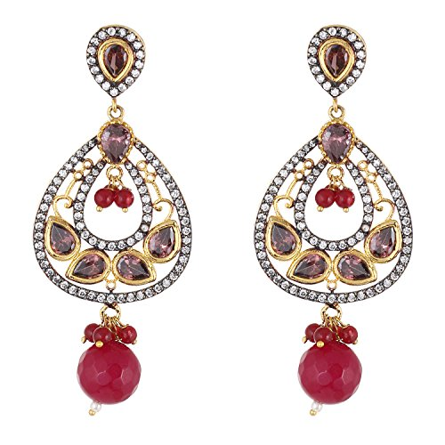 Be You White Colour Diamond Kundan Fusion Look Rhodium Plated Brass Dangle Earring for Women (Brass Chand Plated)