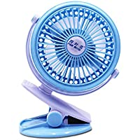 Fan Mini clip fan, mini portable 360 degree rotating rechargeable USB fan, desk, personal, travel, baby carriage, car back seat, outdoor camping - colour blue