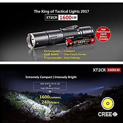SKYBEN Klarus XT2CR 1600 Lumens CREE XHP35 HD E4 LED Multi-Mode Dual-Switch USB Rechargeable Tactical Flashlight, with 1 x 18650 Battery,USB Charging Cable,Holster,O-Ring USB Light