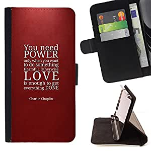 DEVIL CASE - FOR Samsung Galaxy A3 - Power Love Quote Maroon Red Text - Style PU Leather Case Wallet Flip Stand Flap Closure Cover