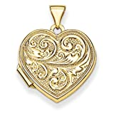 14k Gold Scrolled Love You Always Heart Locket Locket-necklaces