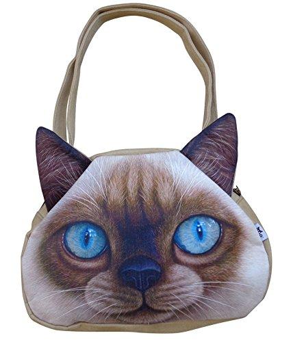 AM Landen Japanese Cute Cat Face Zipper Tote Shoulder Bags Handbags (CTS-Velvet Cat-Brown(14