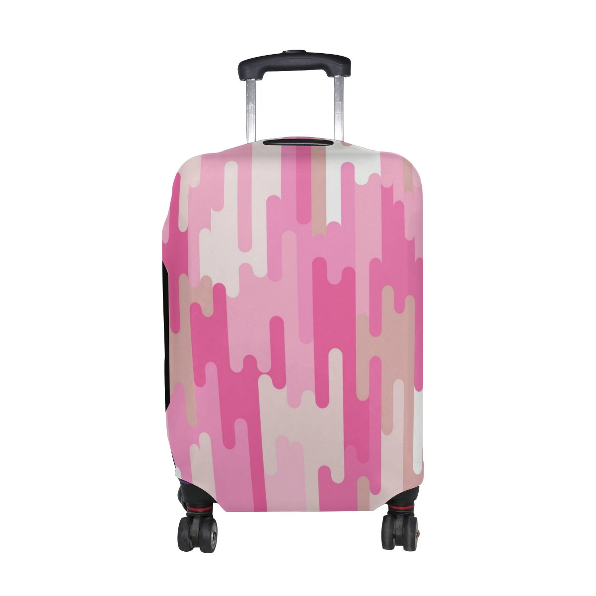 U LIFE Bohemian Vintage Pink Stripe Striped Luggage Suitcase Cover Protector