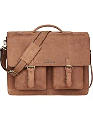 Leaderachi Hunter Leather Handmade Unisex Messenger Briefcase Bag [VENETO]