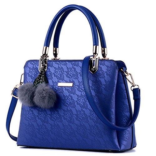 (Women Fur Handbags Printing Women PU Leather Shoulder Messenger Bags Sweet Tote Bag Bolsa blue)