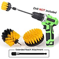 Ruvince 4-Set Drill Brush Power Scrubber Drill Brush with Extend Long Attachment Suitable for Clean