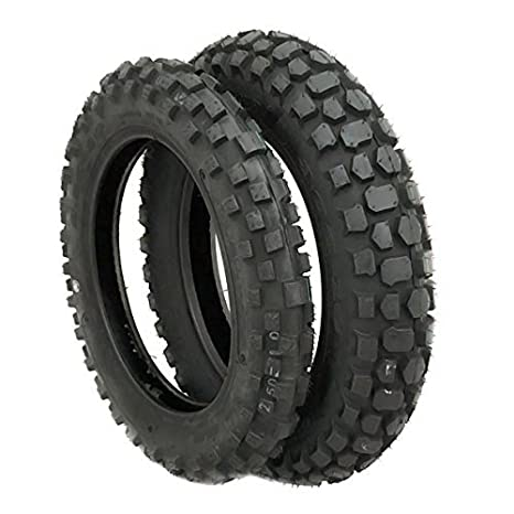 "TIRE SET: Front 2.50-10 and Rear 3.00-10 Knobby Tread for Trail Off Road Dirt Bike Motocross Mini 10"" Rim"