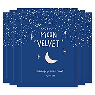 FaceTory Moon Velvet Moisturizing Cream with Jojoba Oil Sheet Mask - Moisturizing, Brightening, and Anti-Aging (Pack of 5)