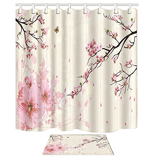 NYMB 3D Digital Printing Flower Decor, Butterfly Flying on Cherry Blossoms Shower Curtain, Polyester Fabric Shower Curtain Set 15.7x23.6in Flannel Non-Slip Floor Doormat Bath - Cherry Curtain Shower Blossom