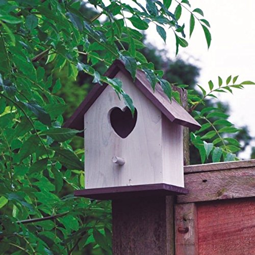 White Wooden Nesting Box with Heart Shaped Design enternce Wild Bird Grey Roof Free Standing or fix Wall S&S