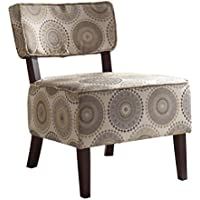 Homelegance 1191F6S Armless Accent Chair, Beige with Grey/Brown Medallions Print Fabric