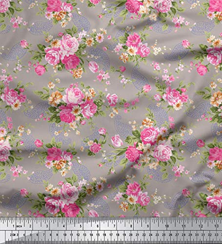 """Soimoi Floral & Paisley Printed 60"""" Inches Wide 2-Way Stretch Velvet Fabric by The Yard - Gray"""