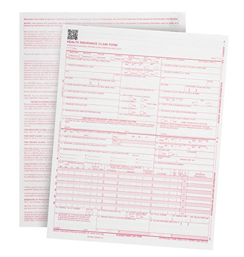 "500 CMS-1500 Claim Forms - Current HCFA 02/2012 Version ""New Version""- Forms will line up with billing software and Laser Compatible- 500 Sheets - 8.5'' x 11"