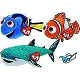 Ty Beanie Babies Finding Dory Fish NEMO, DORY, & Shark DESTINY Set of 3 Reg Size Plush Toys and Stingray Bonus Sticker