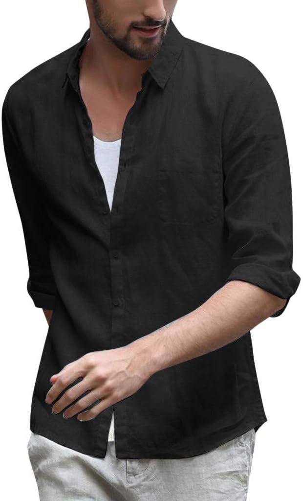 Camisas casuales con botones para hombre, mezcla de lino color sólido, tres cuartos de manga: Amazon.es: Juguetes y juegos