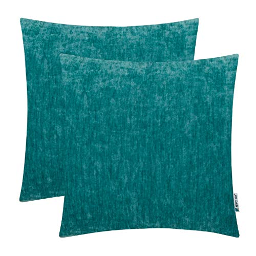 (HWY 50 Cashmere Soft Decorative Throw Pillows Covers Set Cushion Cases for Couch Bed Living Room 18x18 Inches Cyan Teal Comfortable Pack of 2)