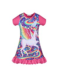 AmzKids Unicorn Nightgowns Rainbow Pajamas Dress Toddler Princess Nightshirt Kids Girls Sleepwear Dress