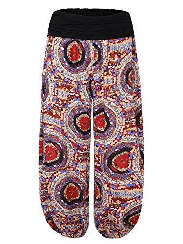 BAISHENGGT Mujer Pantalones Harem con Cintura Elástica Rojo Floral N2
