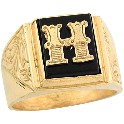 14k Real Gold 12x10mm Rectangle Onyx Letter H Fancy Mens Initial Ring -