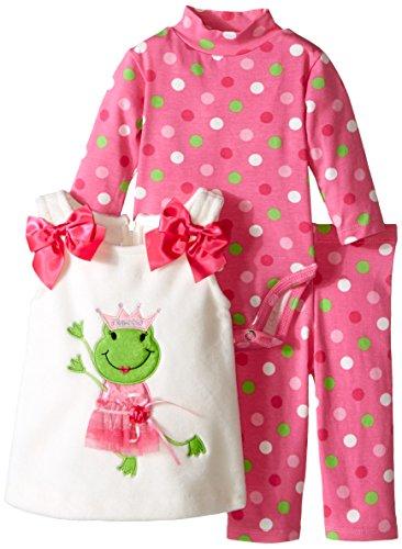 Bonnie Baby Baby Girls' Princess Frog Appliqued Fleece Legging Set, Ivory, 3-6 Months ()