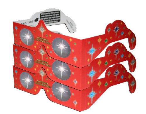 3D Christmas Glasses - Holiday Specs - Transform Christmas Lights Into Magical Images - Christmas Star - 3 Pairs by 3Dstereo Holiday Eyes - Eyeglasses Christmas