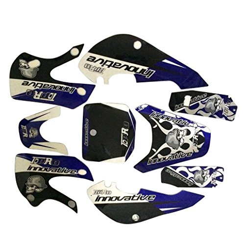JCMOTO Dirt Bike Stickers Motorcycle Sticker Decals For Kawasaki KLX KX Plastic Fenders Fairing Kit Body Parts (Blue) -