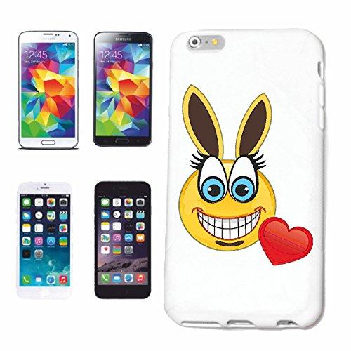 """cas de téléphone iPhone 6S """"SMILEY AS LAPIN AVEC COEUR """"smile EMOTICON APP de SMILEYS SMILIES ANDROID IPHONE EMOTICONS IOS"""" Hard Case Cover Téléphone Covers Smart Cover pour Apple iPhone en blanc"""