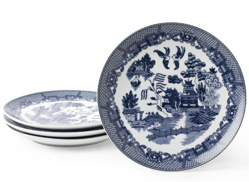 HIC Harold Import Co. HIC Blue Willow Dessert Plates, Fine White Porcelain, Set of 4, 7.75