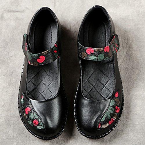 Boucle Souple JRenok de Confortable Noir Cuir de Chaussures 41 en Plates 35 Femmes Mot Ville Mocassins Antidérapantes Ethnique Style CSOSx0rqw