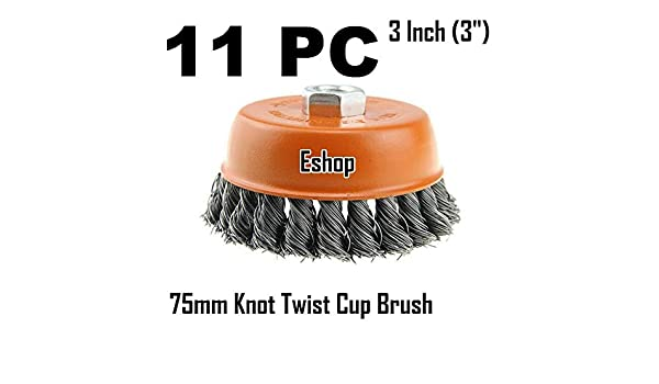 "3 x 3/"" Wire Cup Brush Wheel for 4-1//2/"" Angle Grinder 5//8-11 Twist Knot Hoteche"