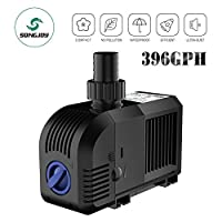 SongJoy® 396 GPH Submersible Water Pump for Aquarium Fountian Indoor Outdoor Garden Pond With 4.9ft (1.5M) Power Cord