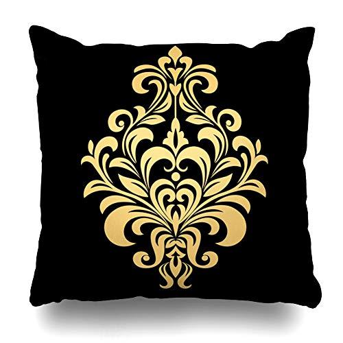 Ahawoso Throw Pillow Cover Square 17x17 Inches Circle Yellow Medallion Golden Pattern On Black Abstract Damask Circular Retro Arabesque Asian Zippered Cushion Pillow Case Home Decor Pillowcase