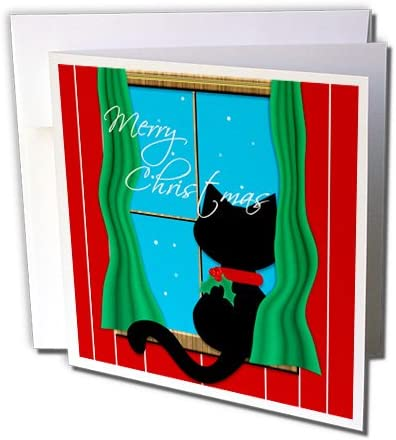 Charlyn Woodruff – CW Designs Holidays – クリスマス – メリークリスマス – Cute Black Cat in Snowyウィンドウ – グリーティングカード Set of 12 Greeting Cards