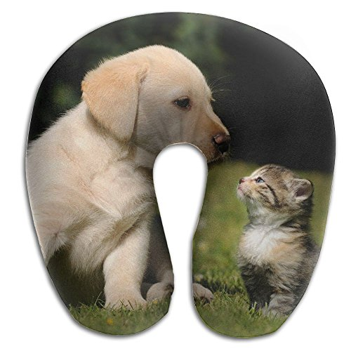 Cute Puppy And Kitten Super U Type Pillow Neck Pillow Outdoor Travel Pillow Relief Neck Pain