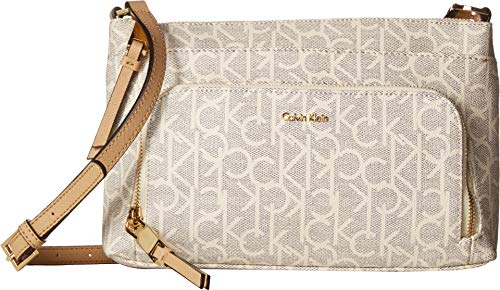 Calvin Klein Hudson Top Zip Signature Crossbody, Cream