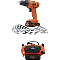 Black & Decker LD120VA 20-Volt MAX Lithium-Ion Drill/Driver with 30 Accessories + 20V Lithium Cordless Inflator