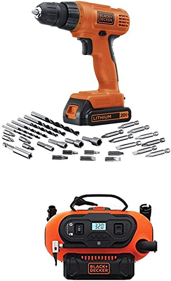 BLACK DECKER LD120VA 20-Volt Max Lithium Drill Driver with 30 Accessories and 20V Lithium Cordless Multi-Purpose Inflator Tool Only